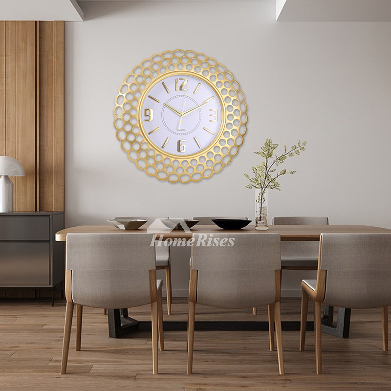 Oversized 20 Inch Wall Clock Round Plastic Glass Rose Gold