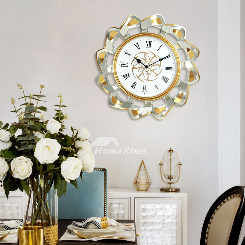 Big Wall Clocks 16 Inch Metal Fancy Colorful Quiet