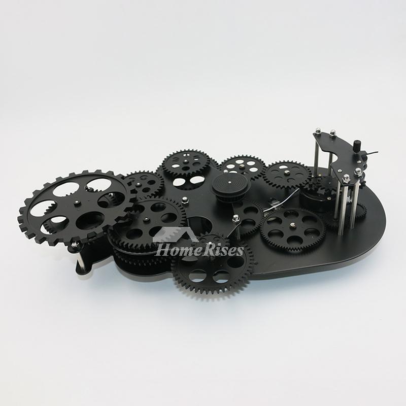 Gear Wall Clock Mechanical White Black Plastic Metal Cool