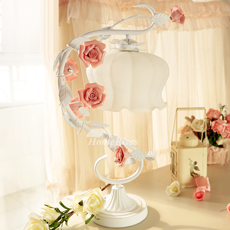 Pink Lamp Flower Wrought Iron Girls White Glass Ceramic Bedroom Table