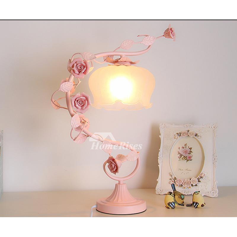 Pink Lamp Flower Wrought Iron Girls White Glass Ceramic ...