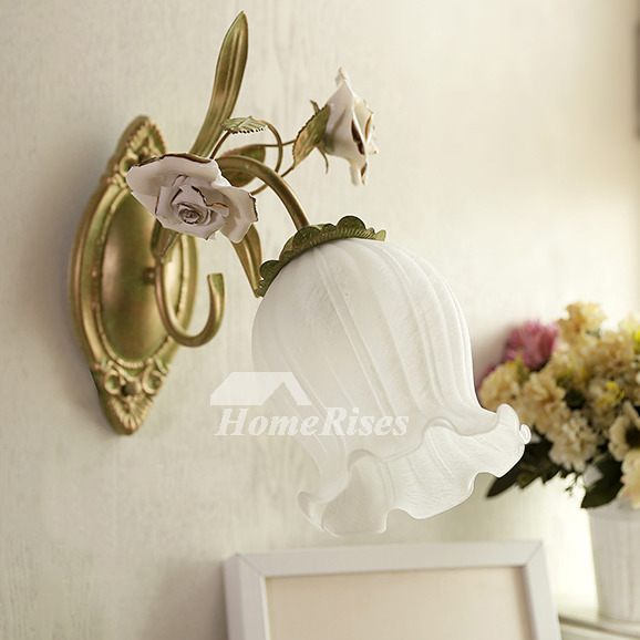 Decorative Wall Sconces Flower Wrought Iron Glass Lighting