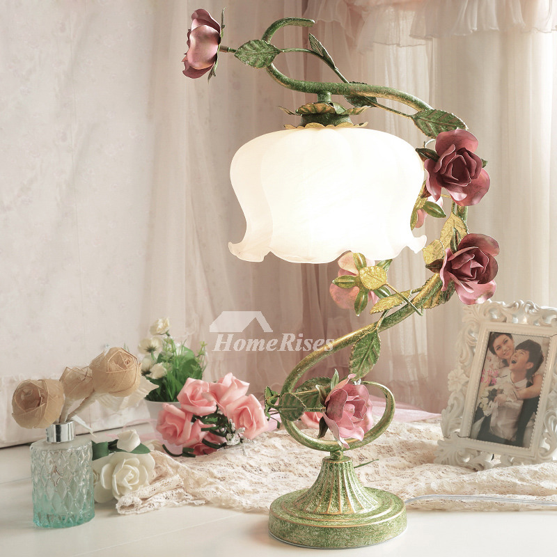 Beautiful Bedroom Lamps Flower Girls Glass Shade Wrought Iron Green