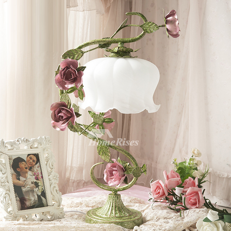Beautiful Bedroom Lamps Flower Girls Glass Shade Wrought