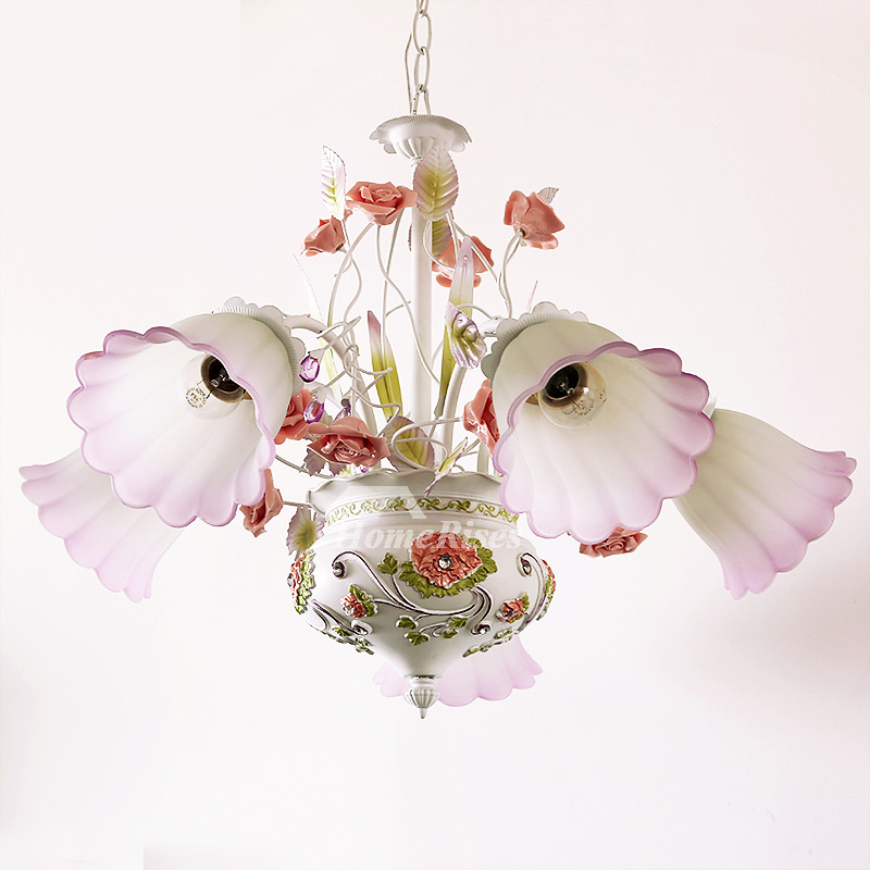 5 Light Chandelier Wrought Iron Glass Shade Ceramic