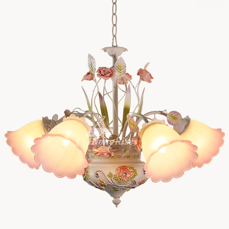 5 Light Chandelier Wrought Iron Glass Shade Ceramic
