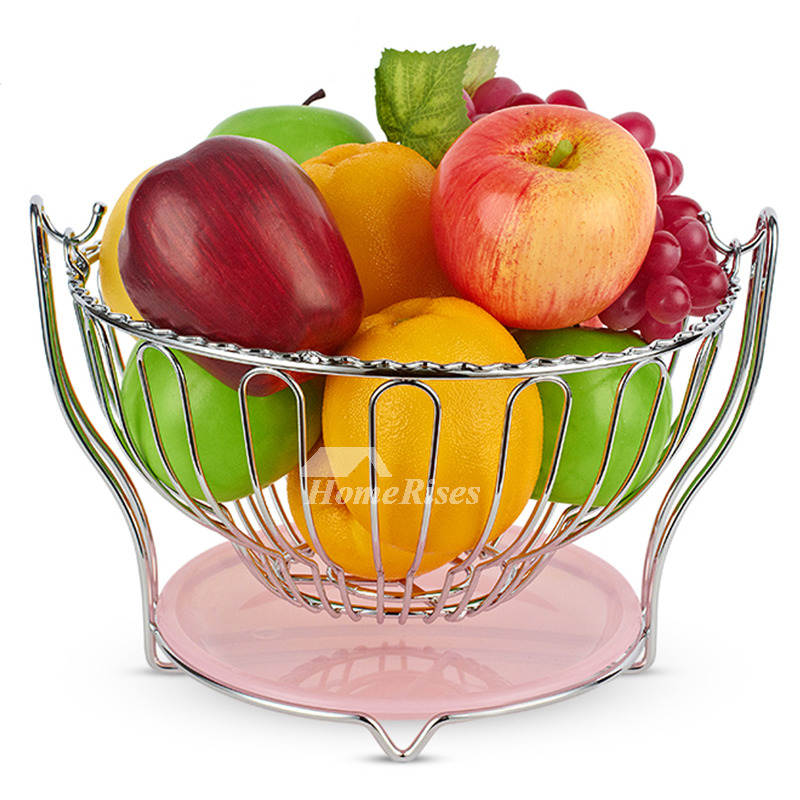 Metal Fruit Bowl Hanging Plastic Pink Contemporary Kitchen Decorative