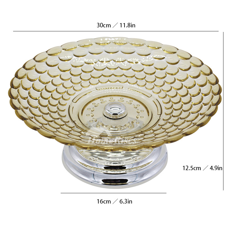 Pedestal Fruit Bowl Plastic Footed Gold Cognac Decorative Best 12 Inch