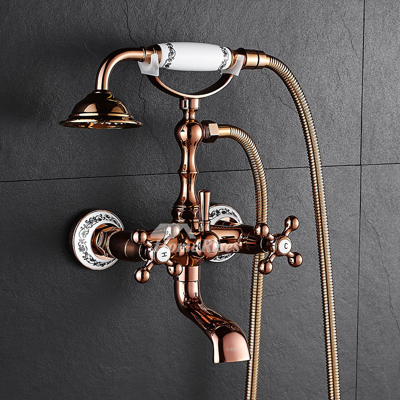 Clawfoot Outdoor Shower Faucet Wall Mount Rose Gold