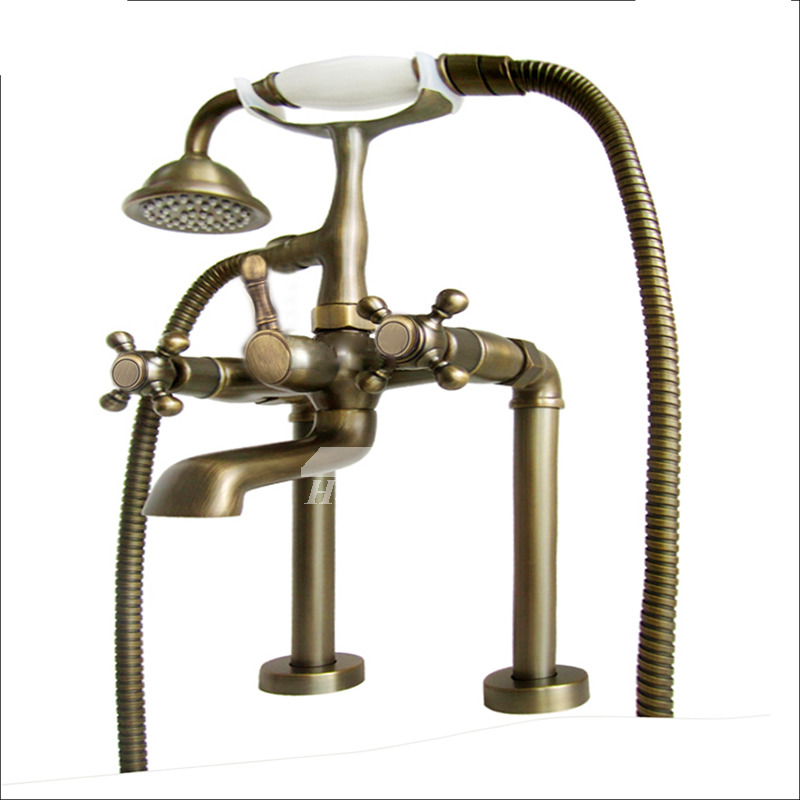 Deck Mount Tub Faucet Chrome Antique Brass Cross Handle