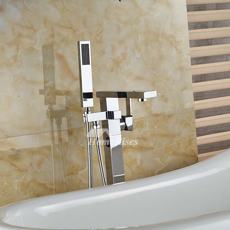 Quality Floor Standing Chrome/Oil-Rubbed Bronze Deck Mount Tub Faucet