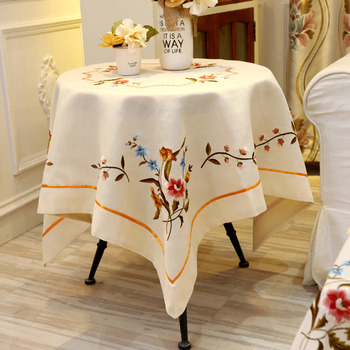Round Embroidered Tablecloths