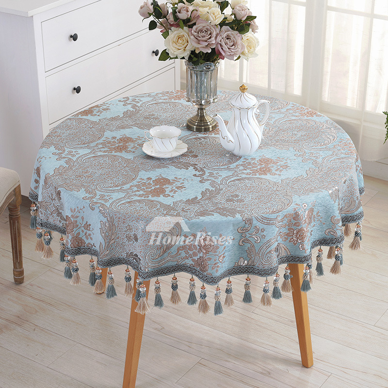 Vintage Tablecloths Round 70 Inch Polyester Blue For Sale
