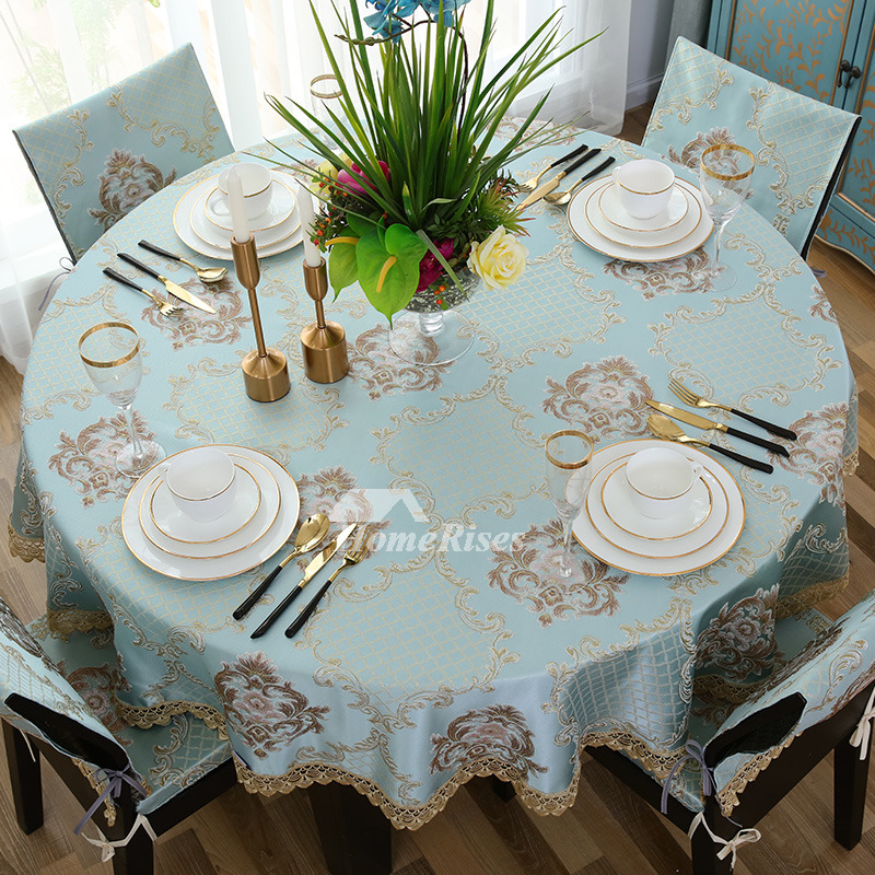 Yellow Tablecloth Blue Cream Polyester Amp Cotton Jacquard