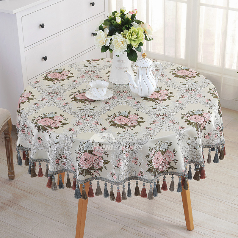Flower Tablecloth Blue Dining Room Round Jacquard
