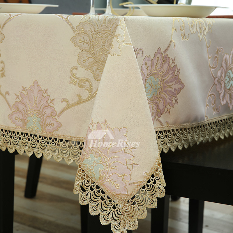 Vintage Tablecloths For Sale Yellow Polyester Lace Picnic Dining Room