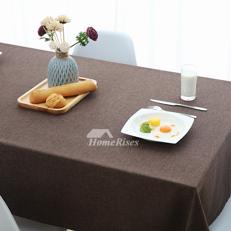 Simple Cotton Linen Tablecloth Dining Room Purple Brown Red