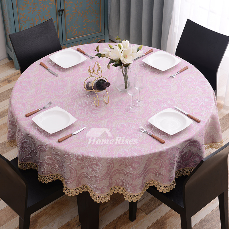 Cheap Round Tablecloths 70 Inch Polyester Lace Gold For Sale