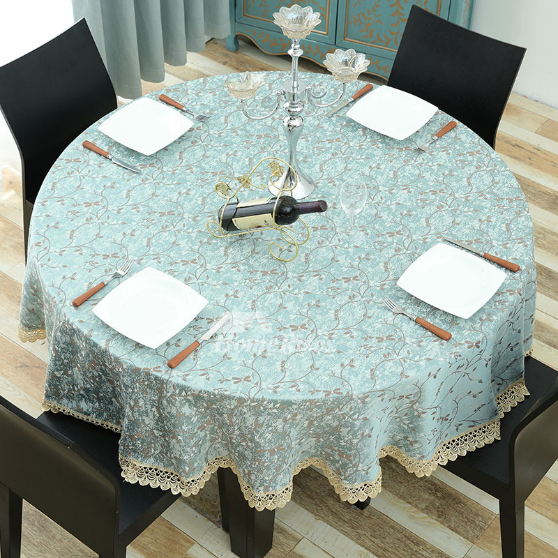 Ivory Tablecloth Blue Round 70 Inch Polyester Lace Fabric