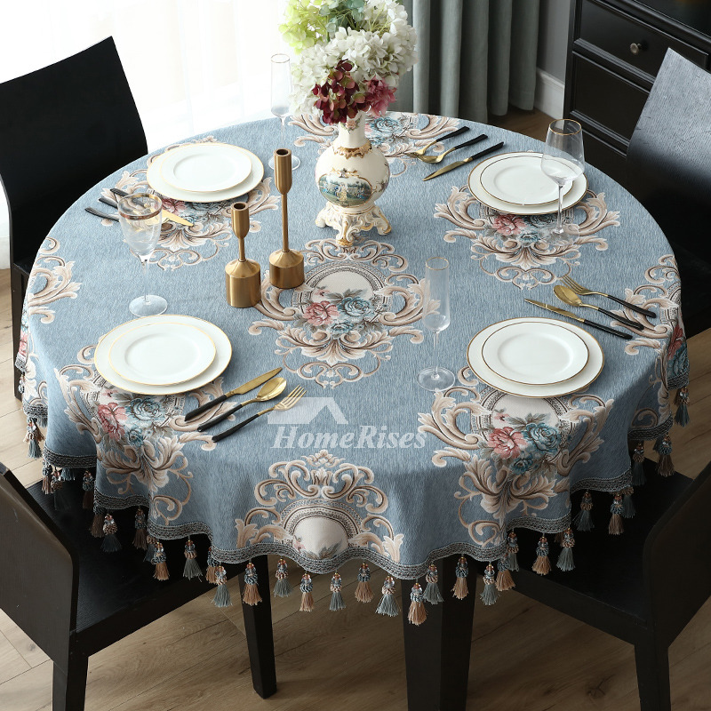 Spring Tablecloths 70 Inch Round Blue Beige Polyester