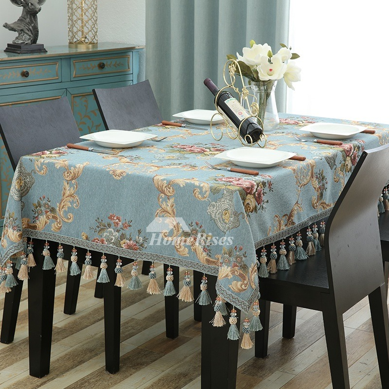 Fabric Tablecloths Blue Coffee Red Polyester 70 Inch