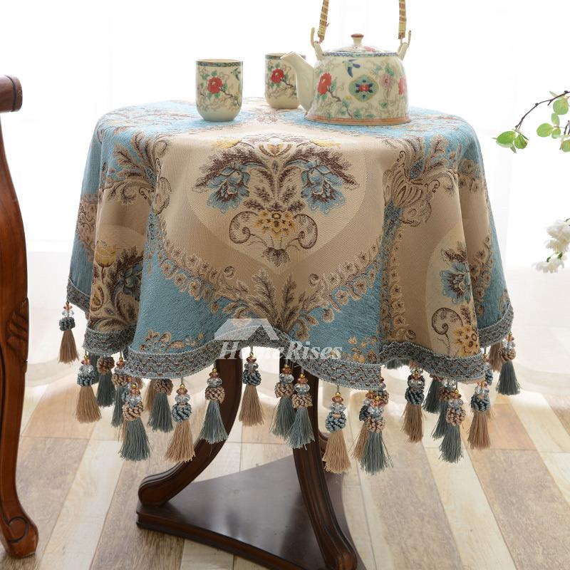 Vintage Tablecloth Round Blue Beige Brown Jacquard Dining Room