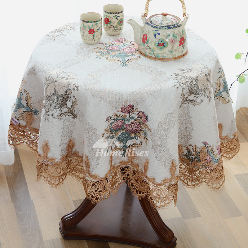 Discount Tablecloths Round Polyester Embroidered Blue/White/Purple