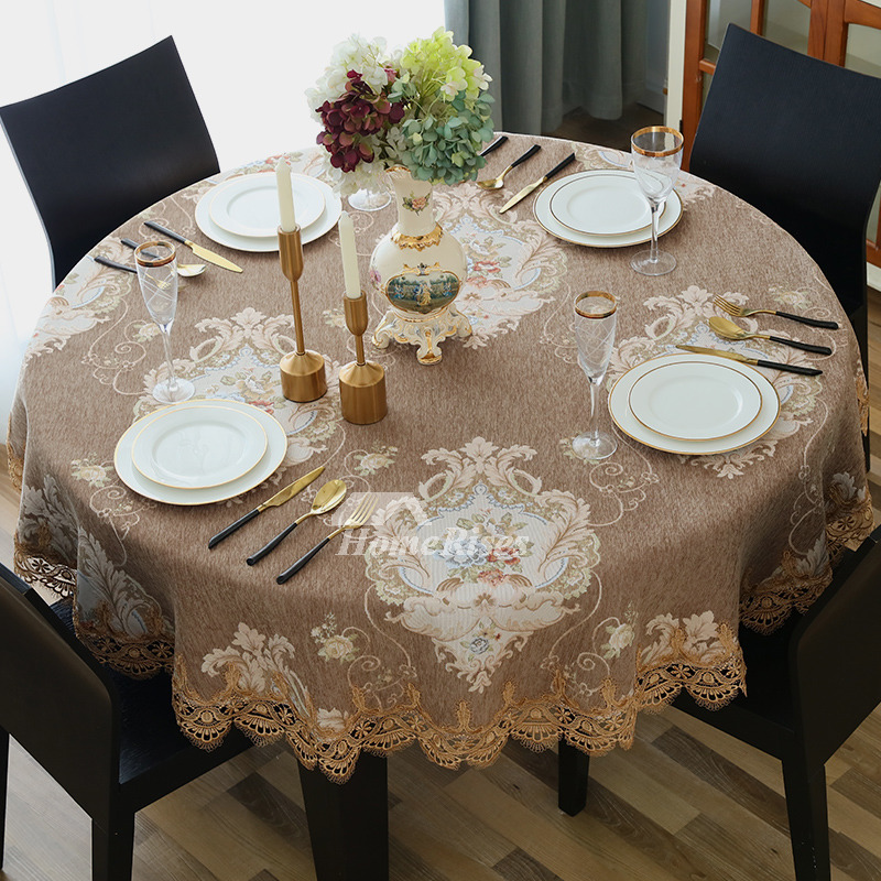Brown Tablecloth Blue White Coffee Round 70 Inch Polyester Lace Flower