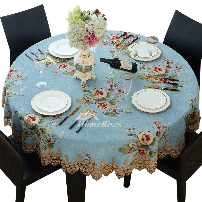 Blue Tablecloth Jacquard Ivory Round 70 Inch Polyester