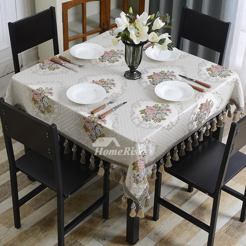 Cheap Wedding Tablecloths Square Polyester Ivory/Blue Dining Room