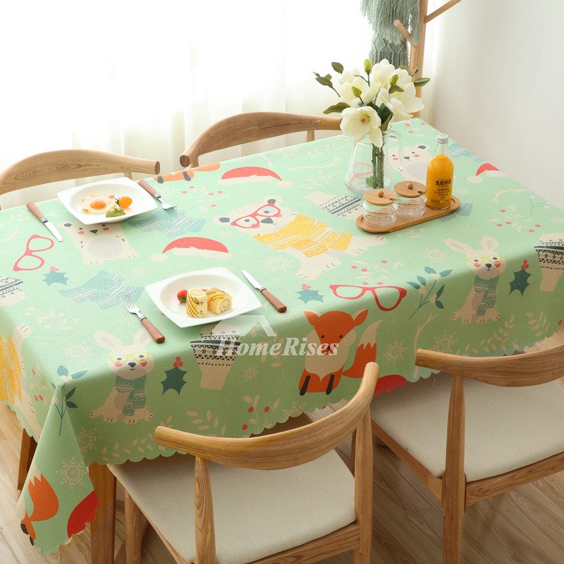 Wholesale Cotton Linen Oblong Christmas Tablecloth Green Red Blue
