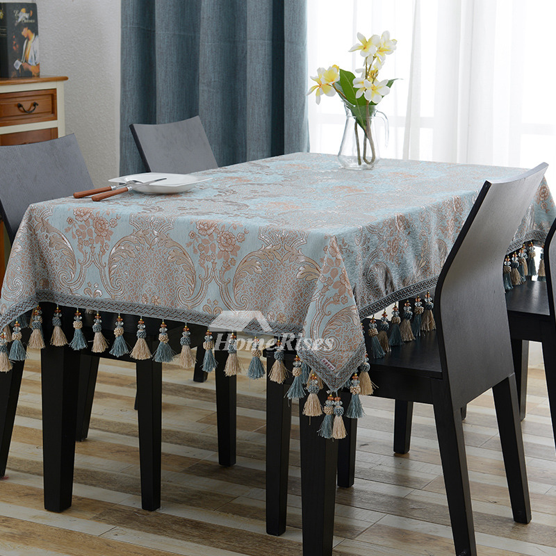 Oblong Tablecloth Blue Jacquard 70 Inch Polyester Modern