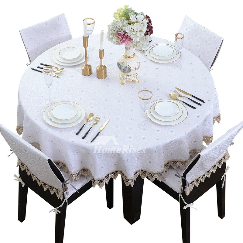 White Round Tablecloths Blue 70 Inch Wedding Polyester ...