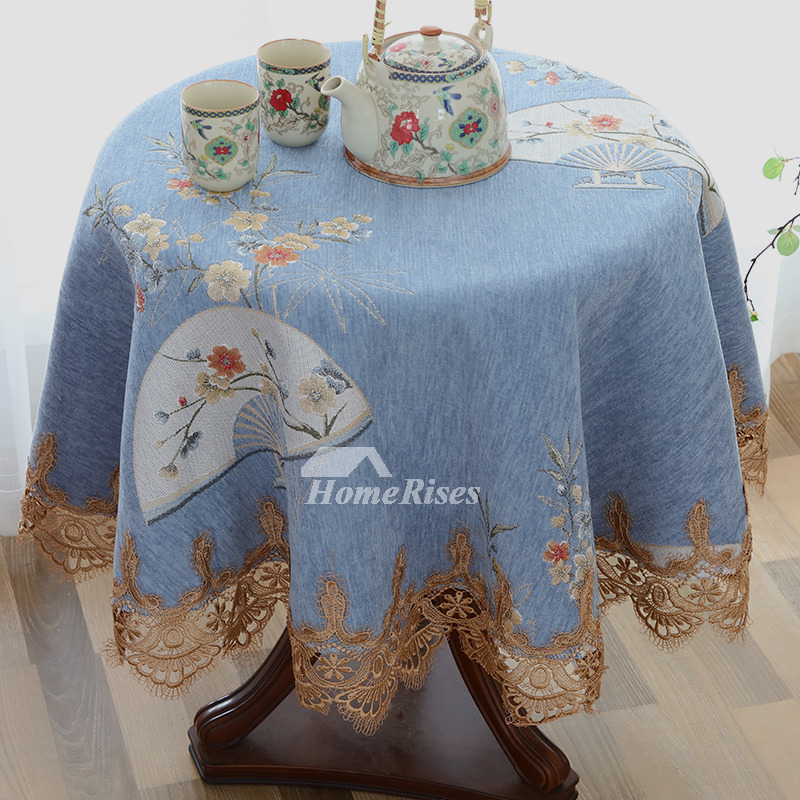 Fabric Tablecloths 70 Inch Round White Blue Purple