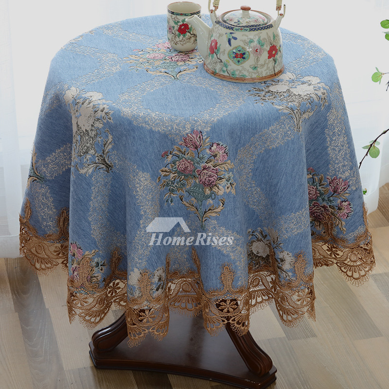Fabric Tablecloths 70 Inch Round White Blue Purple Polyester Lace