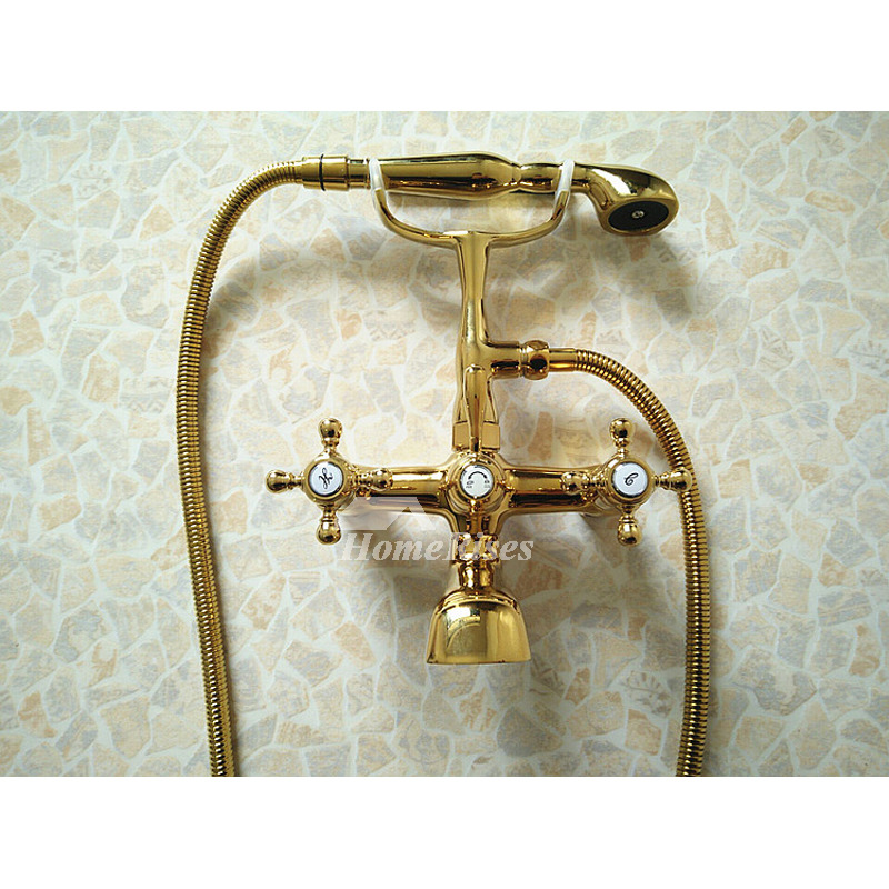 Wall Mount Tub Faucet Floor Standing Clawfoot Gold/Silver Brass