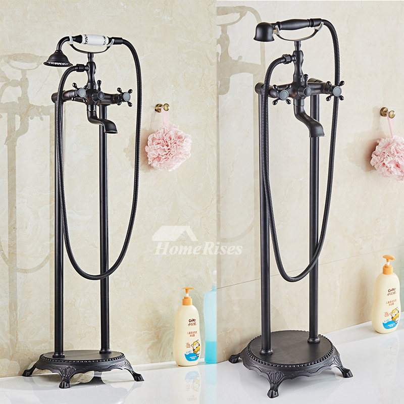 Antique Brass Floor Standing Clawfoot Bathtub Faucet Black