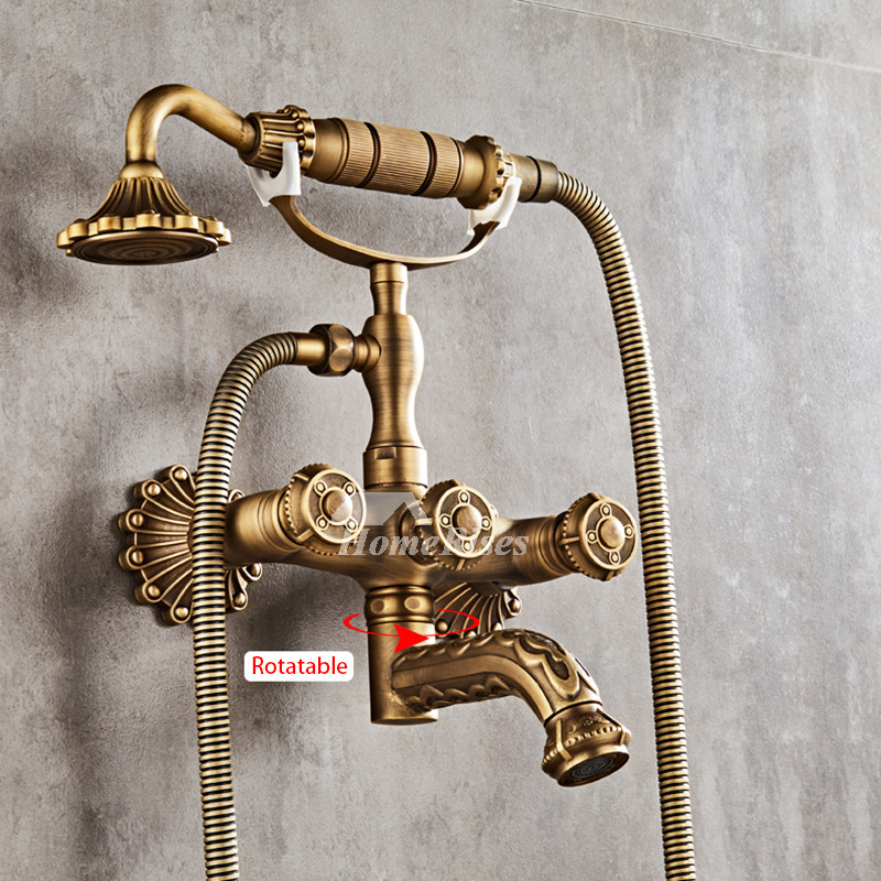 Wall Mount Roman Tub Faucet Clawfoot Antique Brass Gold