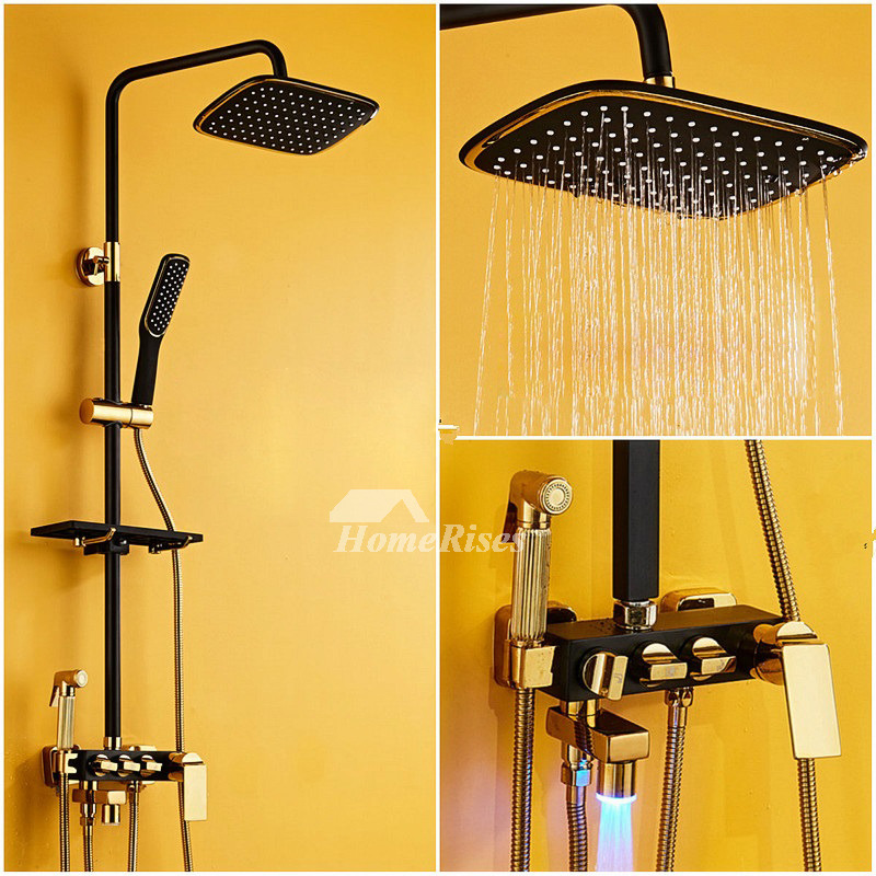 Oil Rubbed Bronze Shower Faucet Black Square Round 8 Inch Bathroom