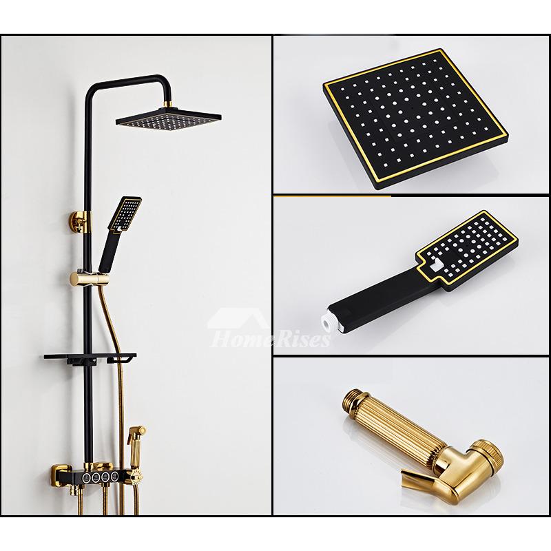 Thermostatic Shower Faucet White/Black Brass Spray Bathroom