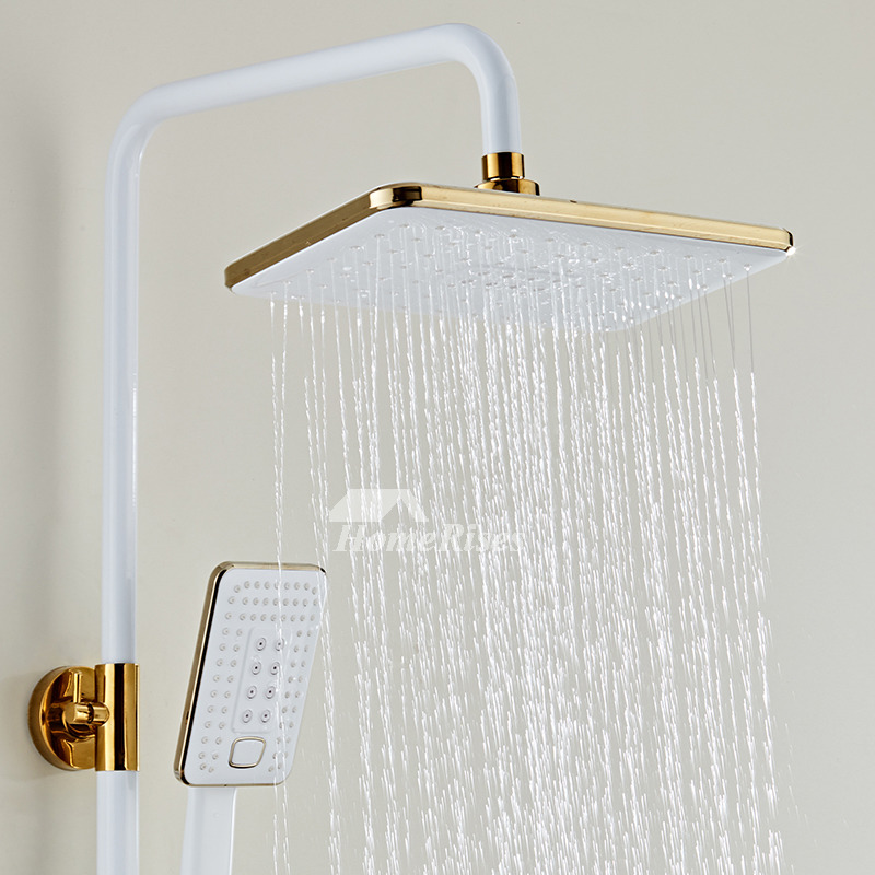 Thermostatic Shower Faucet White/Black Square Sidespray Brass