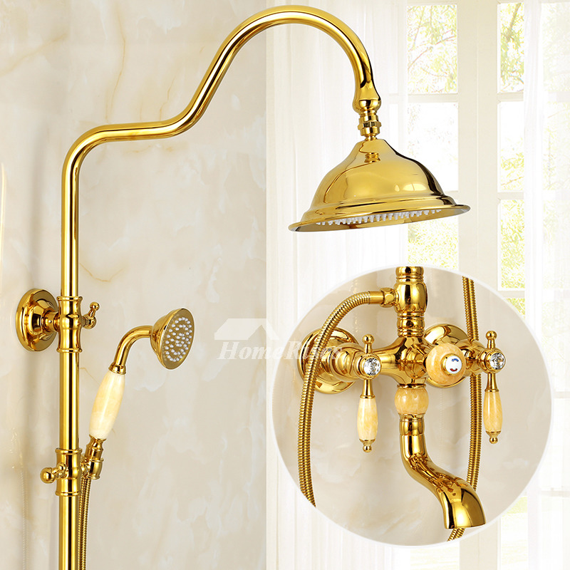 Rain Shower System Gold Polished Brass Wall Mount Marble 2