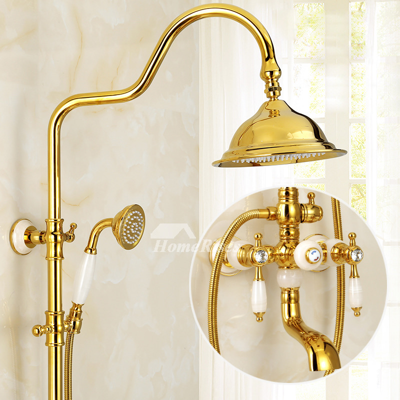 rain shower system gold polished brass wall mount marble  handle