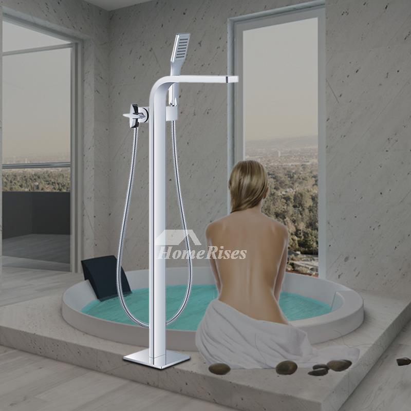 Unique Floor Standing Silver Black Waterfall Bathroom Tub