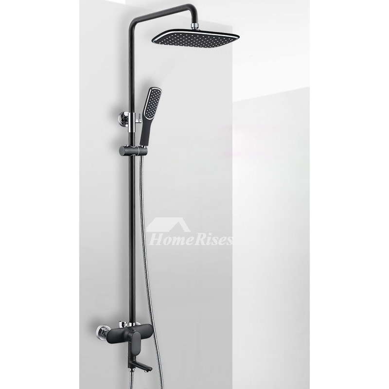 Black Shower Faucet Wall Mount Square Round White Black Bathroom