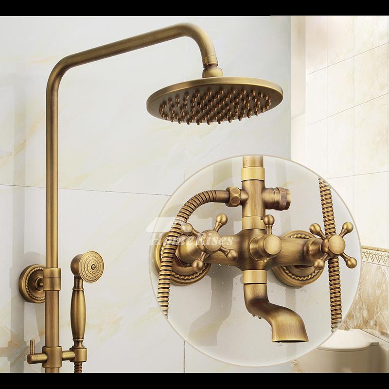 Outdoor shower fixtures 2 handle wall mount antique brass - Antique brass faucets for bathroom ...