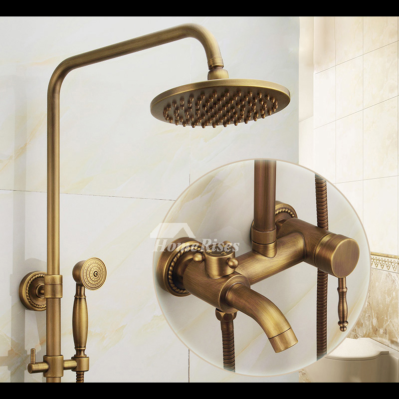 Antique brass shower fixtures wall mount brushed 2 handle - Antique brass faucets for bathroom ...
