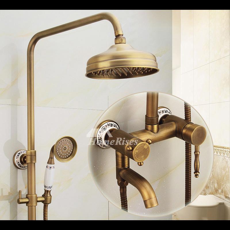 Antique Brass Bathroom Faucet Brushed Gold Single Handle
