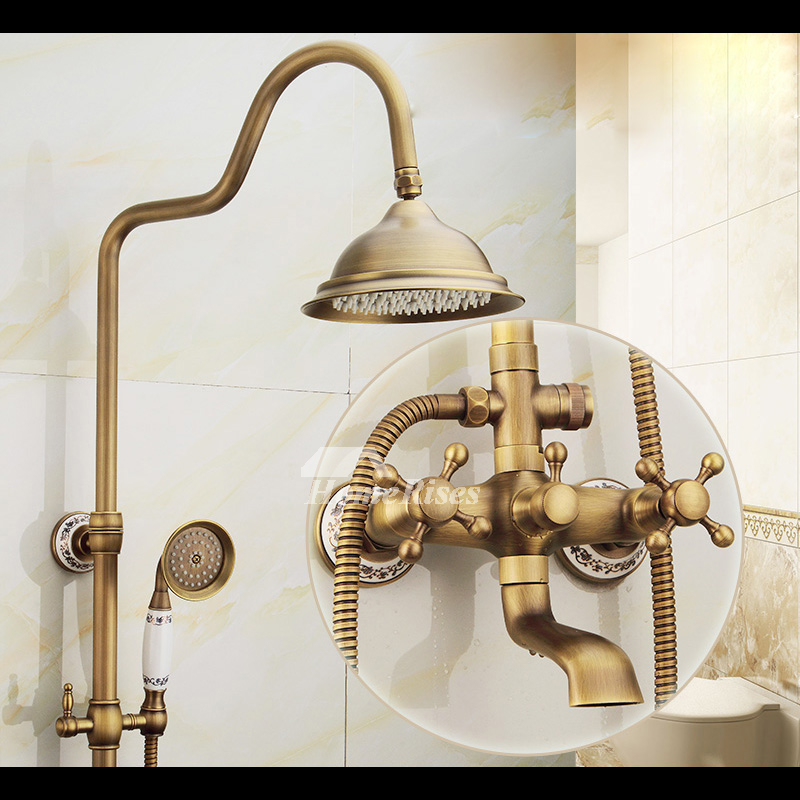 Exposed Shower Faucet Brushed Antique Brass Wall Mount