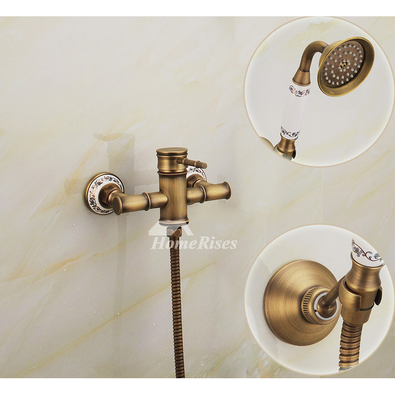Vintage Bathtub Faucet Wall Mount Brushed Antique Brass Simple
